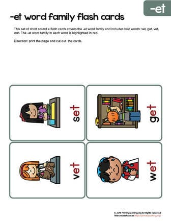 et word family flash cards