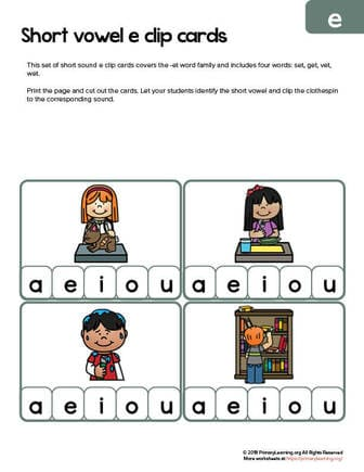 et word family clip cards