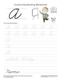 cursive uppercase a