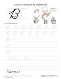 cursive uppercase b