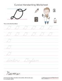 cursive uppercase d