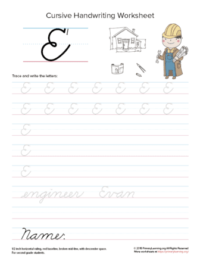 cursive uppercase e