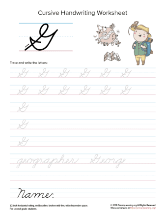 Cursive Uppercase G Worksheet | PrimaryLearning.org