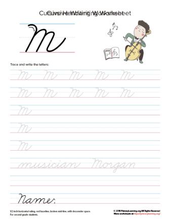 cursive uppercase m