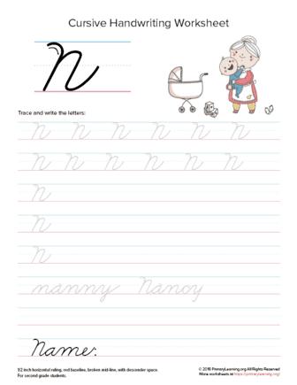 cursive uppercase n