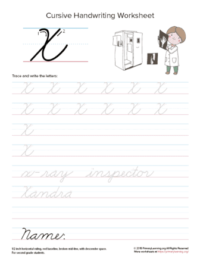 cursive uppercase x