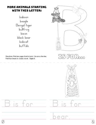 letter b printable book