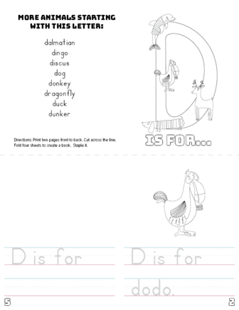 letter d printable book