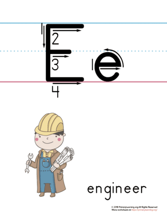 graphic about Printable Letter E known as Printable Letter E Poster (Engineer)