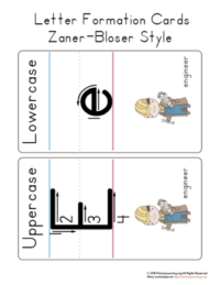 letter e formation cards