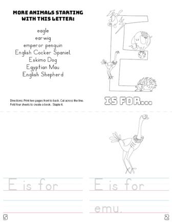 letter e printable book