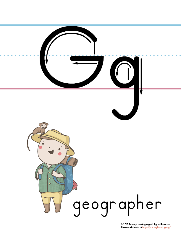 picture about Letter G Printable named Printable Letter G Poster (Geographer)