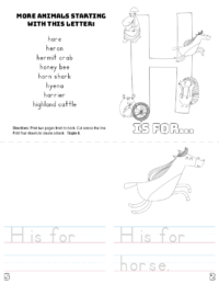 letter h printable book