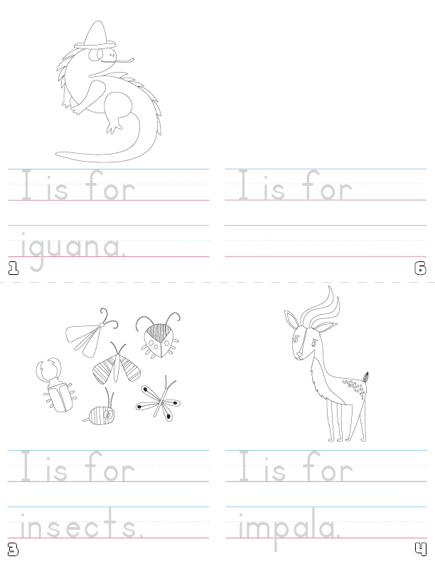 letter i printable book