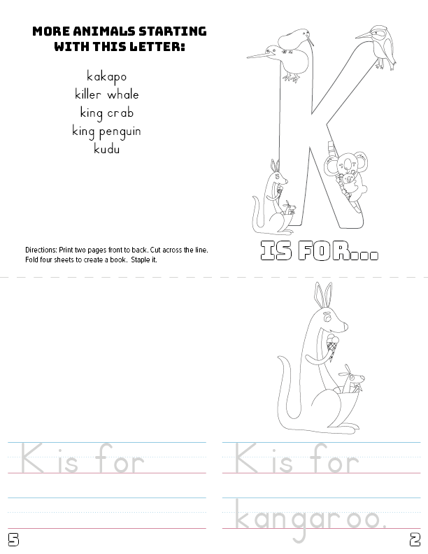 image relating to Letter K Printable named Letter K Printable E-book - Pets