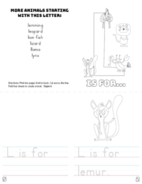 letter l printable book