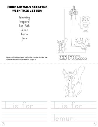 letter l printable book