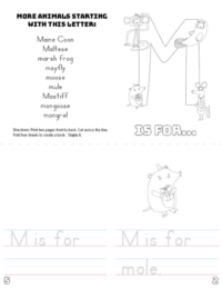 letter m printable book