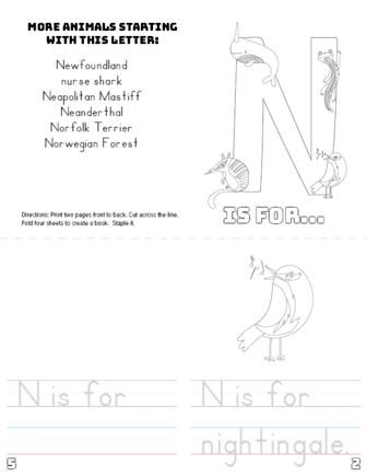 image relating to Letter N Printable named Letter N Printable Guide - Pets