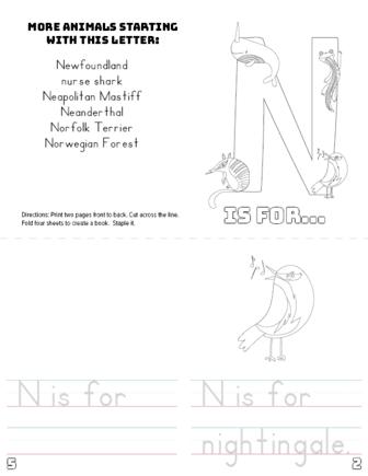 letter n printable book