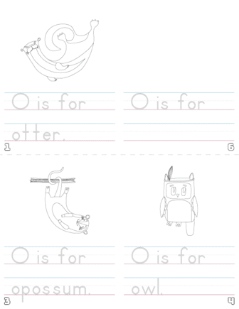 letter o printable book