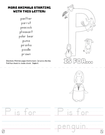 graphic regarding Letter P Printable referred to as Letter P Printable Reserve - Pets