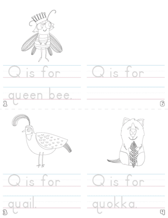 letter q printable book