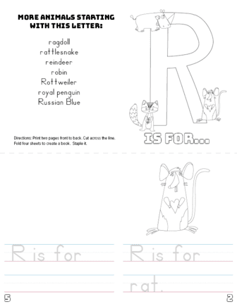 photo relating to Printable Letter R named Letter R Printable E book - Pets