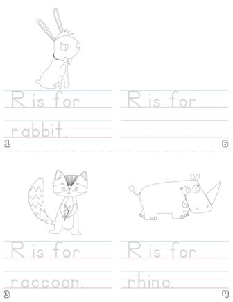 letter r printable book