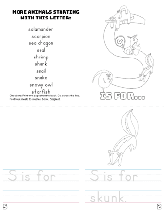 letter s printable book