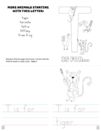 letter t printable book