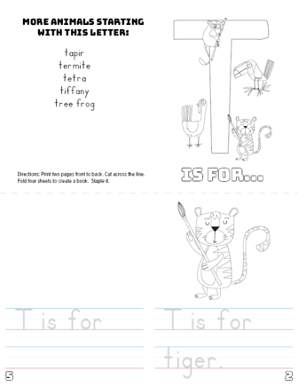 image relating to Letter T Printable named Letter T Printable Ebook - Pets