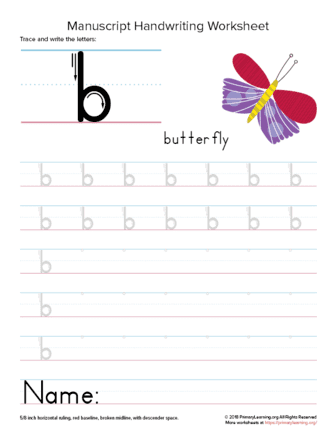 writing letter b
