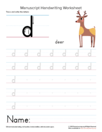 writing letter d