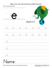 writing letter e