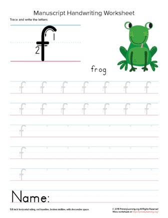 writing letter f