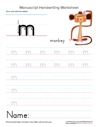 Tracing and Writing Letter M | PrimaryLearning.org