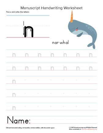 writing letter n