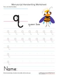 writing letter q