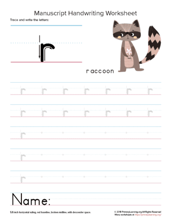writing letter r