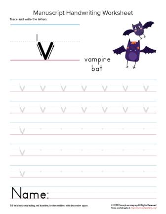writing letter v