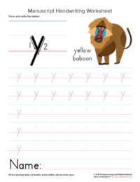writing letter y