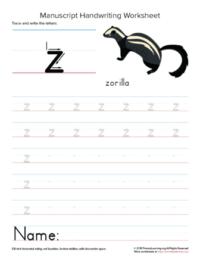writing letter z