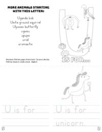 letter u printable book