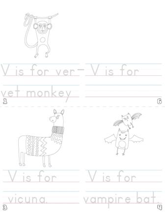 letter v printable book