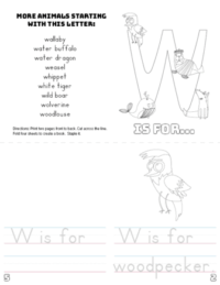 letter w printable book
