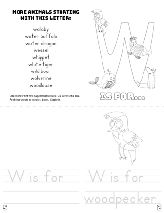 photo relating to Letter W Printable known as Letter W Printable Guide - Pets