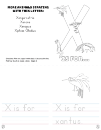 letter x printable book