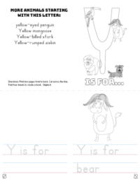 letter y printable book