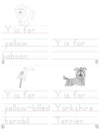 letter y printable book